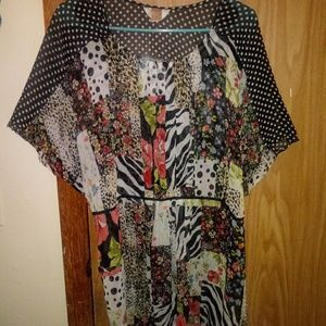 Multi pattern blouse
